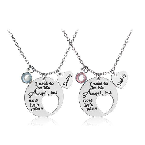 Compre daddy and mommy necklace en forma de corazn con cristal daddy and mommy necklace en forma de corazn con cristal rhinestone colgante collar de la madre aloadofball Choice Image