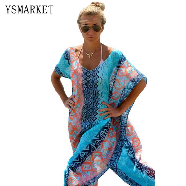 d59944675bf New 2017 Women Long Beach Kaftan Dress Ladies Vintage Print Graphic Miami  Bikini Cover Up Tunics