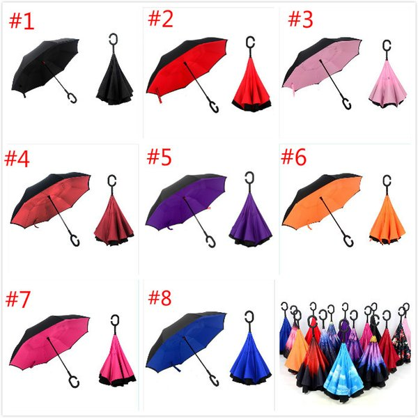 2017 Inverted Umbrella Double Layer Reverse Rainy Sunny Umbrella with C Handle Self Standing Inside Out Special Design Free ship