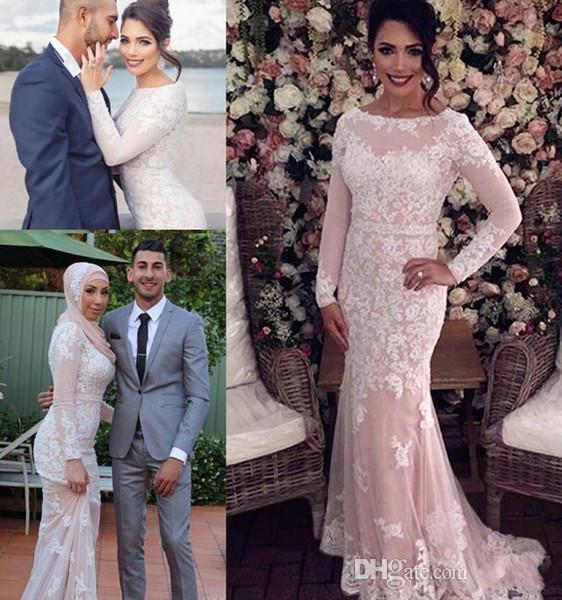 Custom Made 2019 Peach Pink Full Lace Mermaid Evening Dresses Bateau Neck Illusion Long Sleeves Applique Formal Prom Party Queen Gowns DTJ