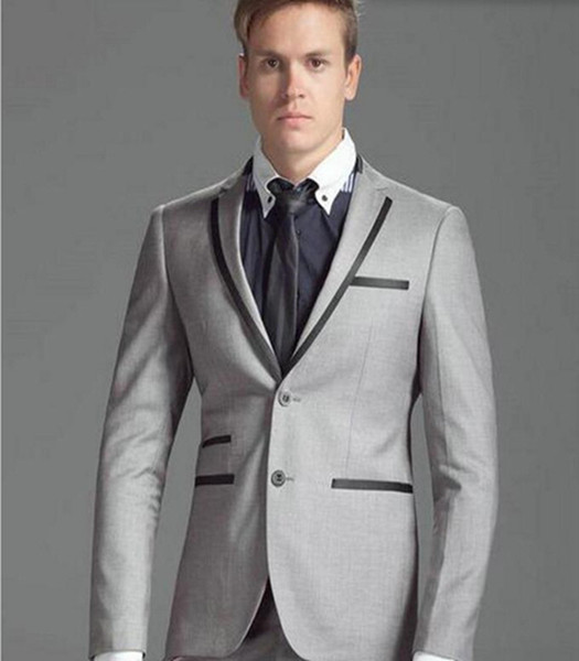 Latest Design Gray Groom suits Tuxedos Custom Made Men Wedding Suits Slim Fit Groomsman Suit(Jacket+Pants)