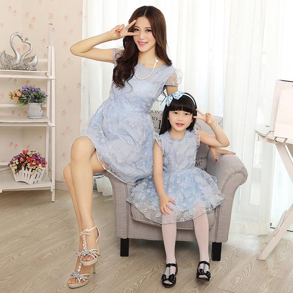 Yüksek Kaliteli Yaz Anne ve Kızı Elbise Çiçek Organze Elbiseler Zarif Aile Giyim Eşleştirme Anne Kızı Elbise Sıcak Satış