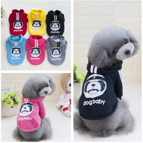 6 Color Autumn Dog Pet Warm Soft Coats Sports With Lovely Bear Puppy Hooded Cheap Pet Jumpsuit For Small Large Pets Mix Order 25PCS/LOT