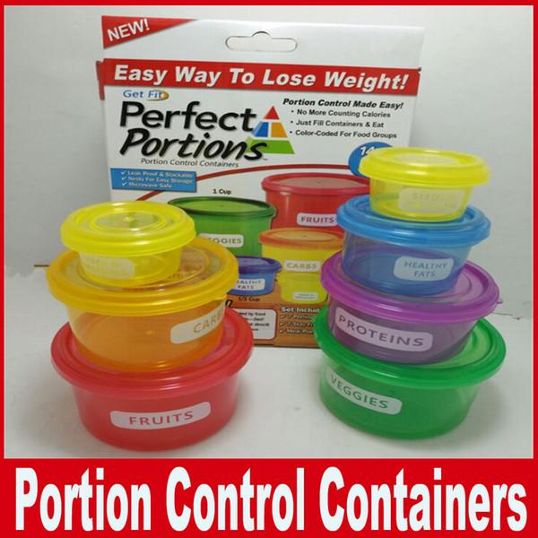 Caja de conservación Porciones perfectas Contenedores de control de porciones Almacenamiento de alimentos Manera fácil de perder peso usando la porción 7pcs / set