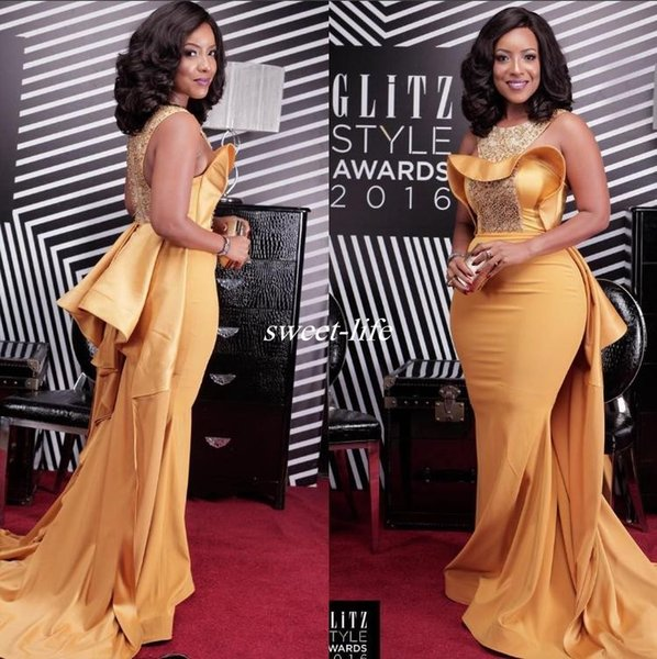 best selling 2019 Sexy Mermaid Evening Dress Scoop Neck Crystal Beaded Satin Dusty Yellow Plus Size Celebrity Dresses African Women Formal Evening Gowns