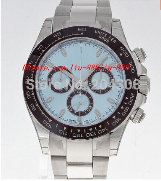 Montres de luxe montre-bracelet en boîte en céramique lunette 116506 cadran bleu en acier inoxydable bracelet automatique montre homme