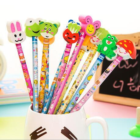 hotsale school office supplies korean stationery creative cartoons pencils with erasers for students kids gifts writing supplies