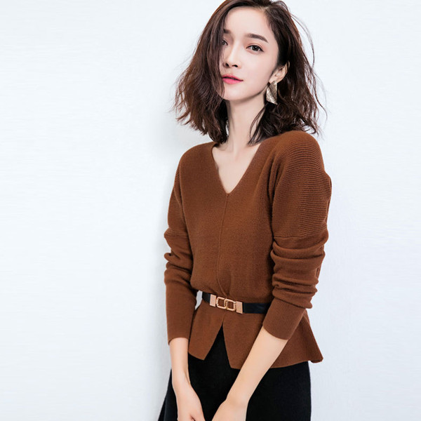 Women Sweater Autumn Korean style OL Lady Slim Waist Knitted Pullover Fashion Bat Sleeve Double V-Neck Sweaters Pullovers