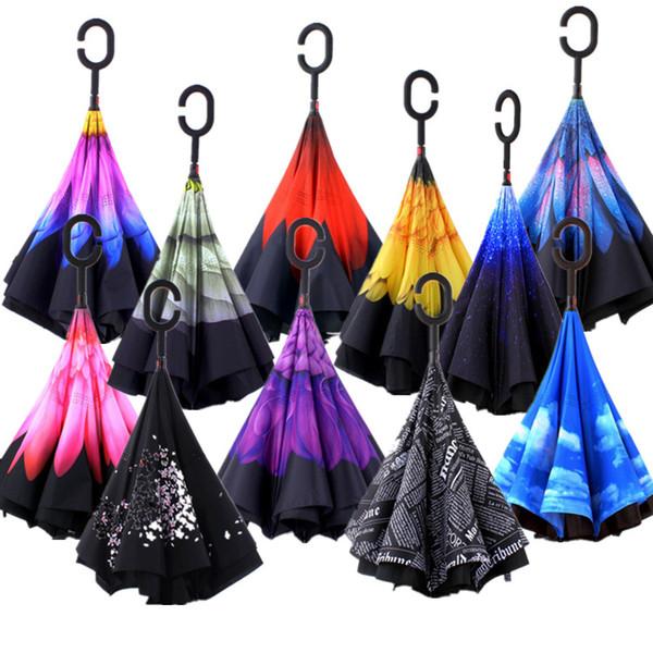 Criativo Invertido Sombra Guarda-chuvas Dupla Camada Com C Lidar Com Dentro Para Fora Reverter À Prova de Vento Colorido Chuvoso Ensolarado Guarda-sol 28 wf KK