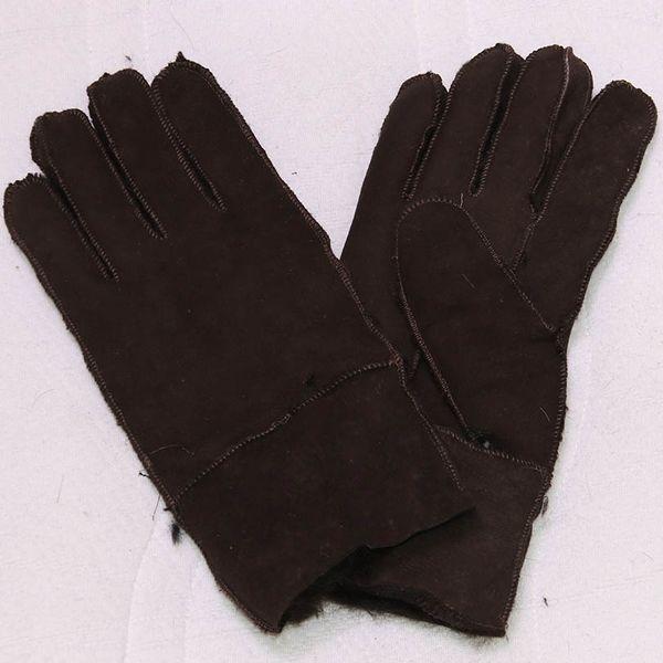 Wholesale- Genuine Leather Gloves Mittens For Men 100% Sheepskin Manual Brand Thicken Winter Warm Natural Fur Gloves Men's Real Fur Gloves