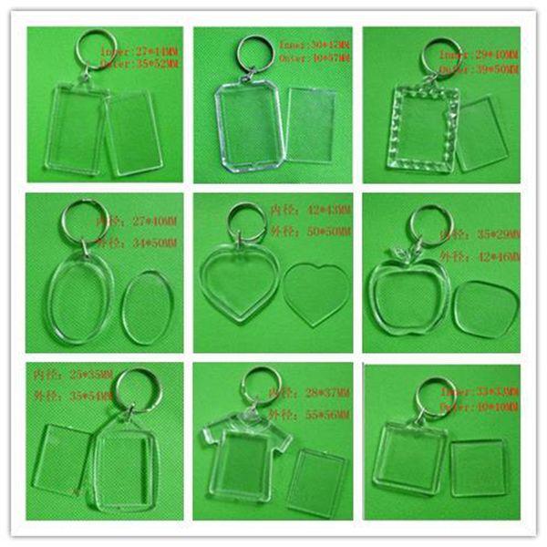best selling DIY Blank Photo Keychains Transparent Acrylic Key Chains Insert Photo Plastic Keyrings ,500pcs Free DHL Fedex