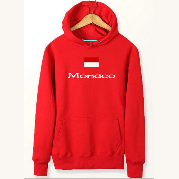 Monaco flag hoodies Team banner work out sweat shirts Country fleece clothing Pullover sweatshirts Outdoor sport coat Brushed jackets