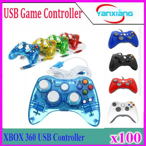 USB Wired Joypad Gamepad Controller For Microsoft Xbox Slim 360 PC Windows7 Black Color Joystick 100PCS YX-360-1