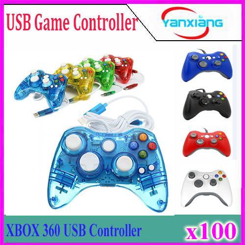 USB проводной джойстик геймпад контроллер для Microsoft Xbox Slim 360 PC Windows7 черный цвет джойстик 100 шт. YX-360-1
