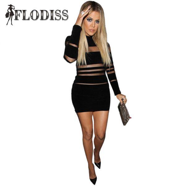 Wholesale- 2017 NEW Fashion Women Celebrity Sexy Party Night Club Dresses Mesh Patchwork Perspective Hollow Out Black Kim Kardashian Dress