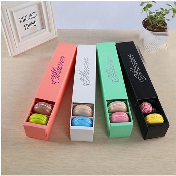 best selling Macaron Box Cake Box Biscuit Muffin Box 20.3*5.3*5.3cm Black Blue Green White 4 Color