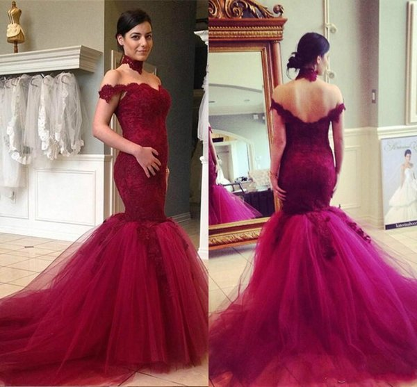 Elegant Wine Mermaid Prom Dresses Sexy Off The Shoulder Appliques Lace Floral Evening Dresses Party Organza Fishtail Summer Formal Gown 2018