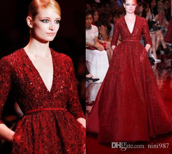 Gorgeous Elie Saab Red Noble vestidos de noche Celebrity Dresses Lentejuelas brillante profundo con cuello en V manga larga manga larga vestido formal