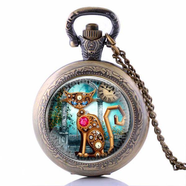 2017 Unique Steampunk Gear Cat Pendant Vintage Bronze Quartz Pocket Watch Mens Women Watches Necklace Chain Hour Clock Gifts