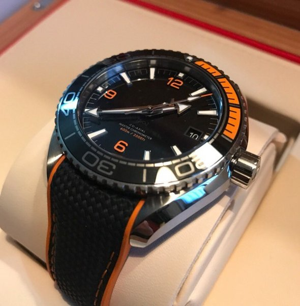 AAA Top Quality Brand New Planet Ocean Co Axial Black orange Automatic machinery Mens Watch Men's Sport Wrist Watches