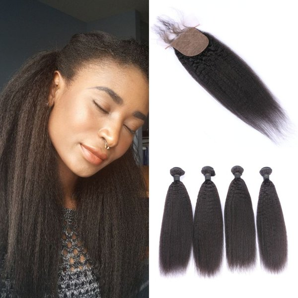 4 Bundles With Closure Natural Black Peruvian Kinky Straight Human Hair Weaves With Closure Silk Base 4x4 G-EASY