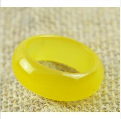 новый горячий продавать натуральный желтый Оникс нефрит ручной резьбой группа кольцо размер (US10=20 мм)