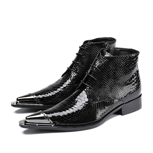 2017 men boots genuine leather black Pointed Toe luxury fashion classic business shoe office formal ankle boots men shoes male
