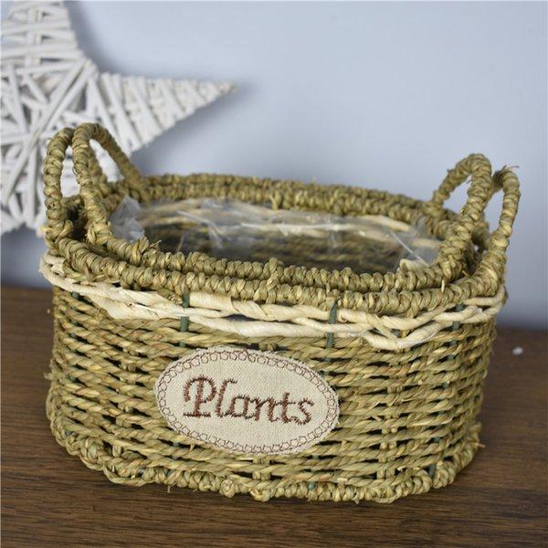 2pcs Mix Tabletop Basket Cup Shape Waterproof Wicker Flower Plant Pot Garden Planting Nursery Pots Bonsai