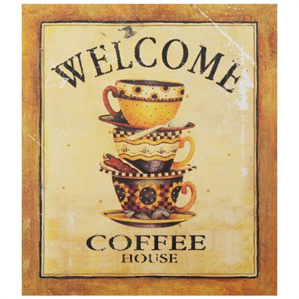 Chalk Board Sign - Decorative Wood Wall Hanging Sign Welcome Coffee House Gold Brown Home Sign And Decoration