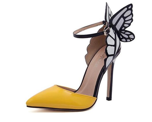 2019 Nouveau Thin High Heels Femme Pompes 8 / 11cm, Sandales À Talons Papillon Sexy Chaussures De Mariage Parti Jaune Pourpre Noir Taille: