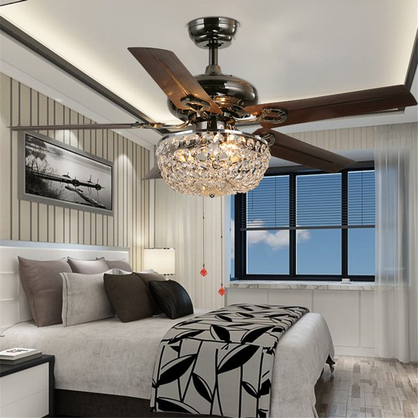 2019 Crystal Ceiling Fan Wood Leaf Antique Fan Light Fan Chandelier With  Remote Control Dining Room Living Room Pendant Lamp From Ok360, $559.6 | ...
