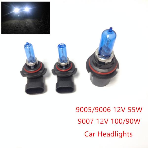 New 2pcs 12V (100/90W 9007) (55W 9005/9006) Ultra-white Xenon HID Halogen Car Headlights Bulbs Lamp Auto Parts Car Lights Source Accessories