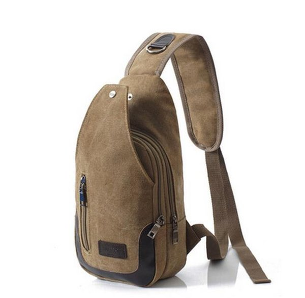 New Casual Men's Canvas + PU Leather Solid Multi Pockets Messenger Shoulder Back Day pack Sling Chest pack Bag