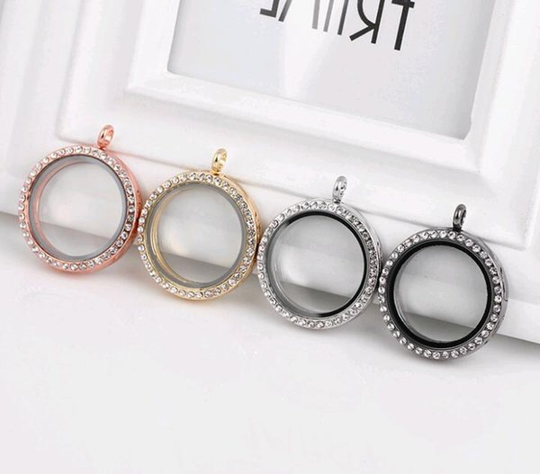 Round Magnetic Floating Locket Glass Living Memory Locket Pendant with Rhinestone diy photo box Hot Sale Mix 4 Color 30mm