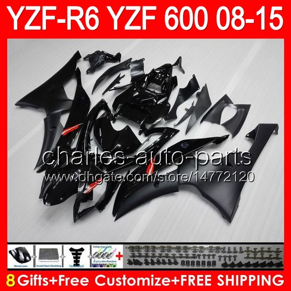 Iniezione 8gifts per YAMAHA YZF R6 08 09 10 11 12 13 15 YZF600 YZF-R6 86NO161 YZFR6 2008 2009 2010 2011 2012 2012 2013 2015 carenatura nera lucida