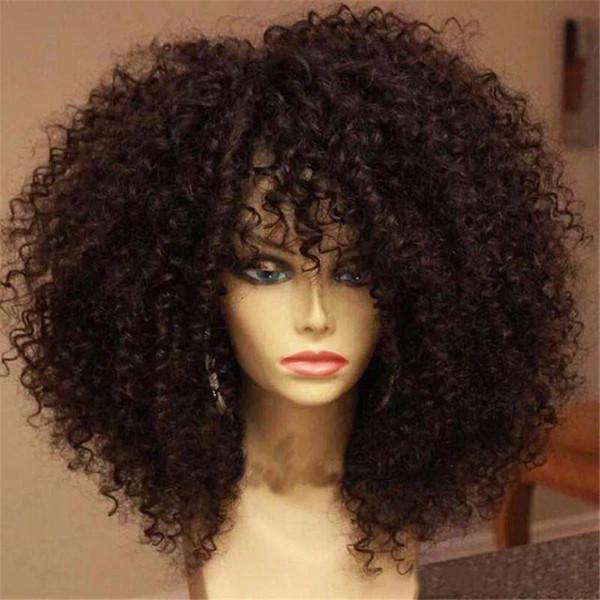 Peluca rizada rizada del cordón del frente pelucas brasileñas del cabello humano del cordón lleno sin cola con el pelo del bebé para las mujeres negras