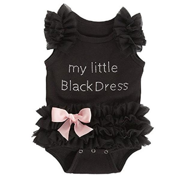 Neugeborenes Baby Bodysuits Mode bestickte Spitze mein kleines schwarzes Kleid Buchstaben Baby Strampler