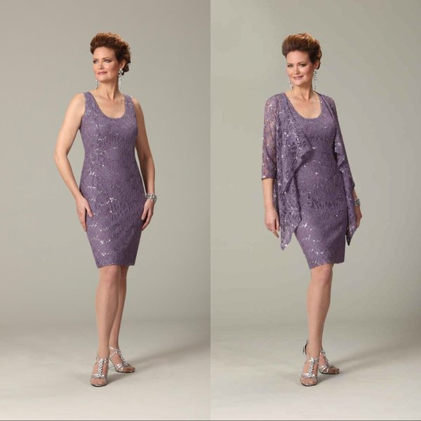 Cheap Plus Size Purple Mother Of The Bride Short Dresses Scoop ...