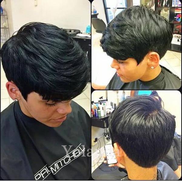 Nueva primavera venta pelucas llenas del cordón del pelo humano para las mujeres negras peluca corta del frente del cordón peluca del pelo humano de Pixie pelucas brasileñas del pelo de Rihana