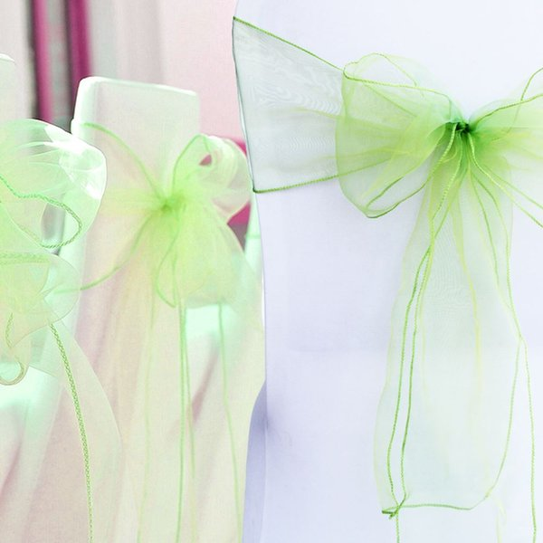 100 pieces/lot 18x275cm Wedding Organza Chair Cover Sashes Bow Sash Party Banquet Decor 30 colors