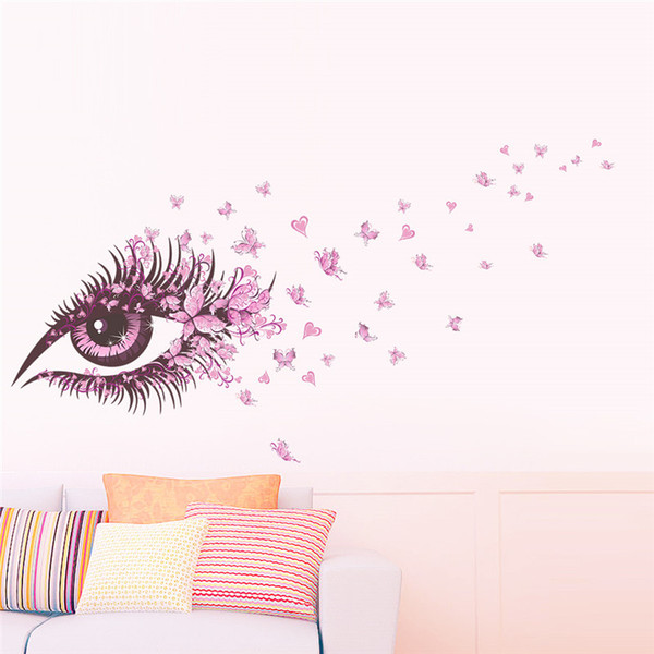 Charming Fairy Girl Eye Wall Sticker For Kids Rooms Flower butterfly LOVE heart Wall Decal Bedroom Sofa Decoration Wall Art