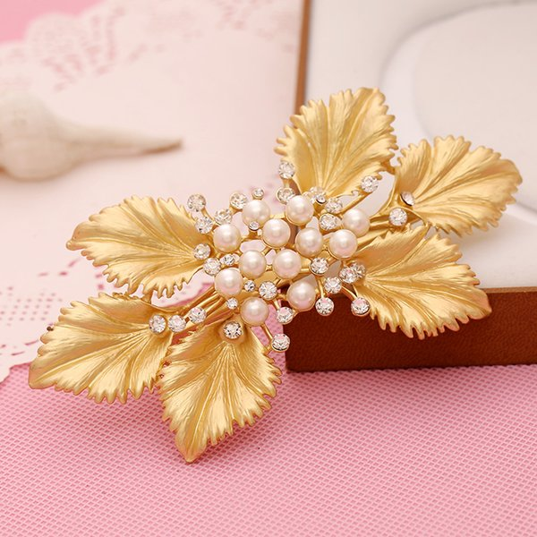 Wedding Accessories Headpiece Bridal Pearl Hairpins Pearl Crystal Gold Leaf Hair Pins Clips Bridesmaid Women Hair Jewelry Lady Gift
