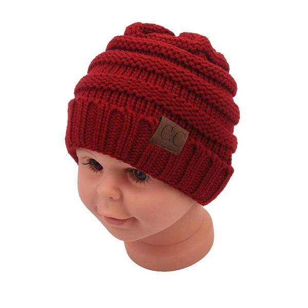 Hot-seeling Baby Hats CC Trendy Beanie Crochet Fashion Beanies Outdoor Hat Winter Newborn Beanie Children Wool Knitted Caps Warm 12 colors