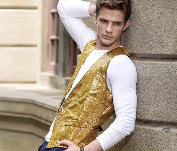 top popular wholesaleNew Mens double side Sequins Slim Waistcoat Stage Performances Vest Sleeveless Jacket Stage Show Clothes For Mens B522 2019