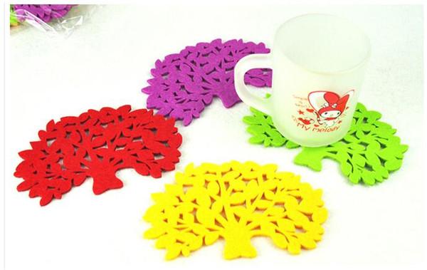 Japan Style Felt Table Mat Cup Pad Tree Shape Design Lovely Felt Bowl Pot Coaster Cup Mat Phone Ipad Mat for Bowl Mug Glass Plate