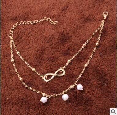Svuota le cavigliere a tre cavigliere più economiche con tre cavigliere a forma di cuore in fiore color pesca cuore di perle