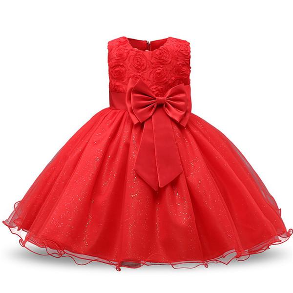 Abito da bambino di marca per le ragazze Abiti da bambino Abbigliamento da battesimo Compleanno rosso Abiti Per bambini Flower Girl Wedding battesimo Abiti abiti