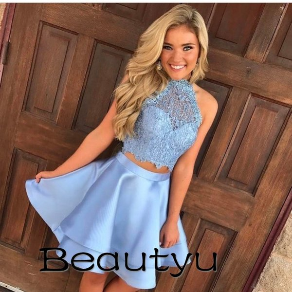 Short Party Dresses For Juniors Homecoming 2018 Cheap Two Piece A Line Halter Princess Prom Gown Vintage Lace Sexy Mini Cocktail Dress