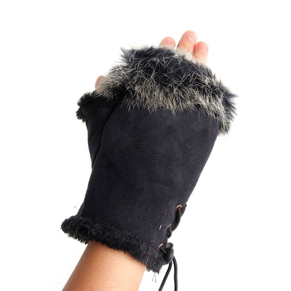 Wholesale- 1pair Cute Women's Warm Winter Rabbit Fur Leather Fingerless Comfortable Gloves