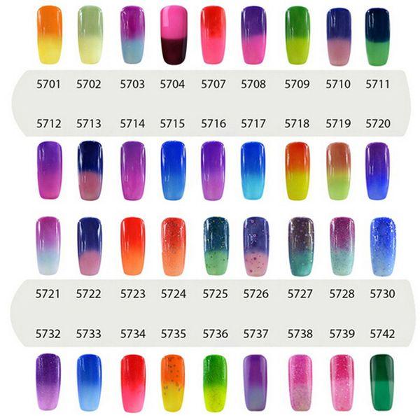 top popular Elite99 7ml Temperature Change Chameleon Changing Color Soak off UV Nail Gel Polish UV Gel Choose 8 From 54 Color 2021